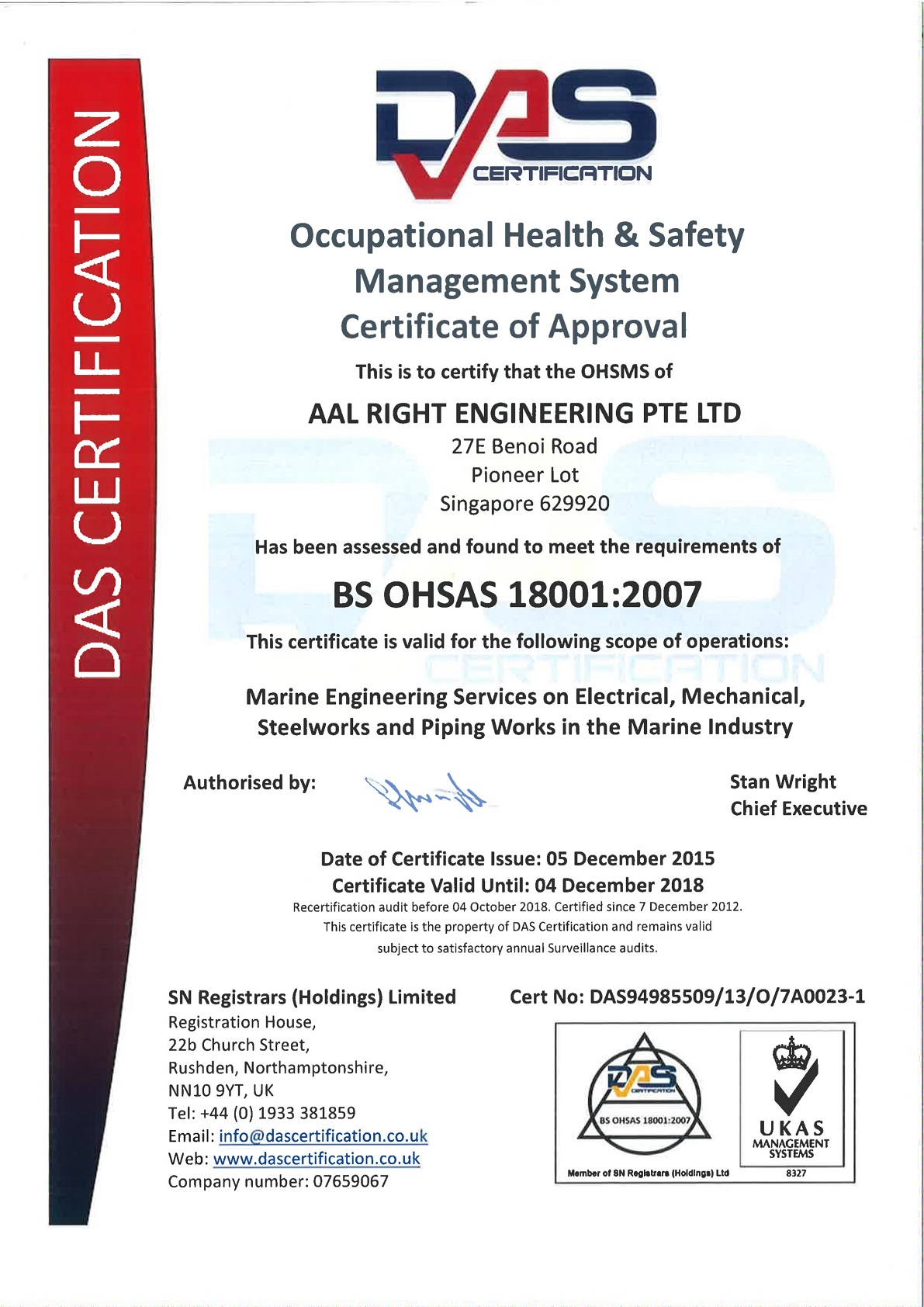 OHSAS | AAL Tech Marine and Industrial Engineering Singapore